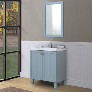 Bathroom Vanity and Framed Wall Mirror Set in Grey Blue Finish with Ceramic Sink-top