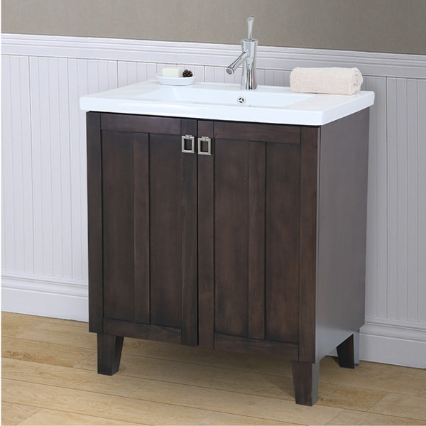 30 Inch Extra Thick Ceramic Sink Top Single Bathroom Vanity In Brown Finish