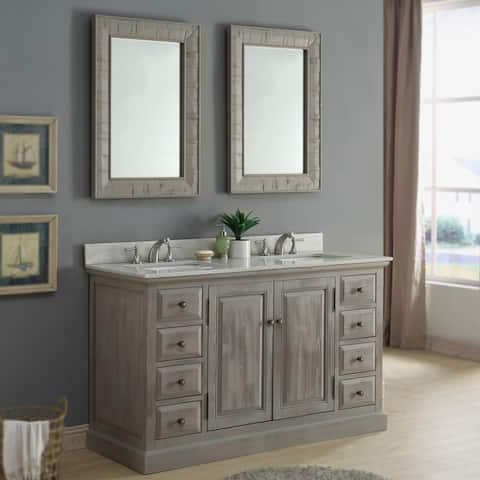 Infurniture Rustic 60-inch Quartz Marble Vanity with Dual Matching Wall Mirrors