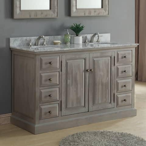 Infurniture 60-inch White Carrera Marble Double Sink Bathroom Vanity