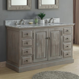Infurniture 60-inch White Carrera Marble Double Sink Bathroom Vanity