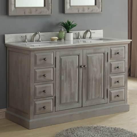 Infurniture 60-inch Rustic Driftwood Marble Quartz Double Sink Bathroom Vanity
