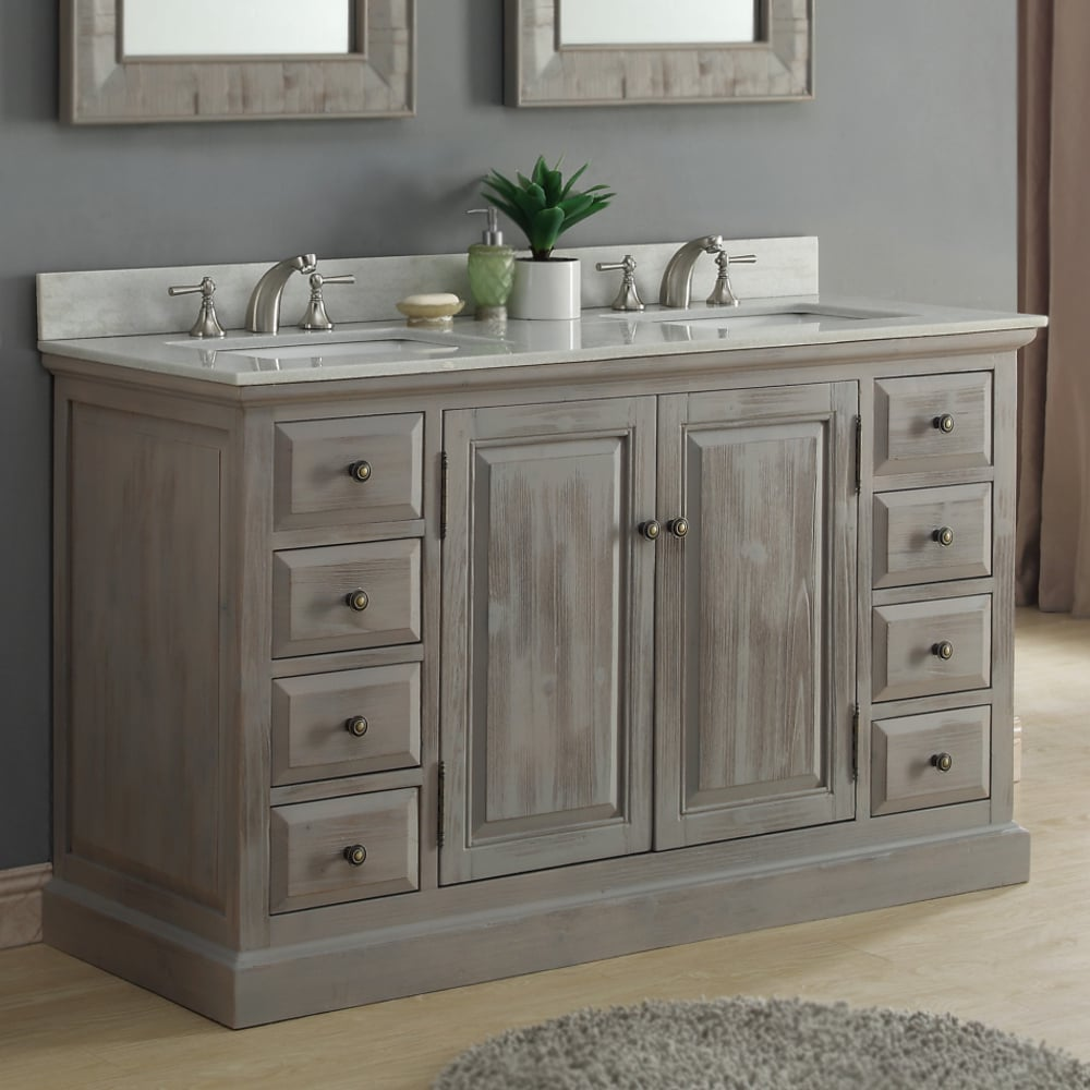Infurniture 60 Inch Rustic Driftwood Marble Quartz Double Sink Bathroom Vanity Overstock 14162482