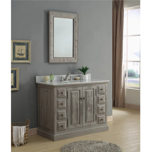 Shop Rustic Style 48 Inch Single Sink Bathroom Vanity With Matching Wall Mirror Free Shipping Today Overstock 14162483