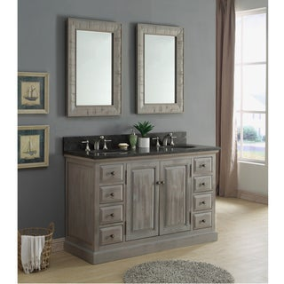 Infurniture Rustic 60-inch Dark Limestone Double Sink Bathroom Vanity with Matching Wall Mirrors