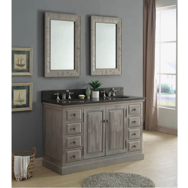 Infurniture Rustic 60 Inch Dark Limestone Double Sink Bathroom Vanity With Matching Wall Mirrors Overstock 14162487