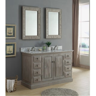 Rustic Style 60 inch Double Sink Carrera White Marble Top Bathroom Vanity with Matching Dual Wall Mirrors