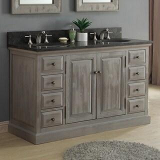 Infurniture Rustic 60-inch Dark Limestone Double Sink Bathroom Vanity