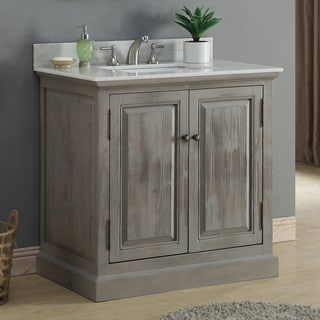 Rustic Style 36-inch Single Sink Bathroom Vanity with Modern Quartz Top