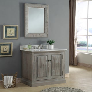 Infurniture Rustic 36-inch Quartz Marble Single Sink Bathroom Vanity with Matching Wall Mirror