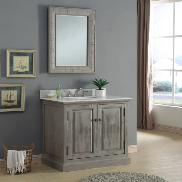 Shop Infurniture Rustic 36 Inch Quartz Marble Single Sink Bathroom Vanity With Matching Wall