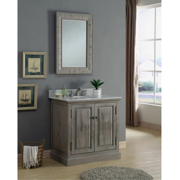 Shop Infurniture Rustic 36-inch Carrara Single Sink ...