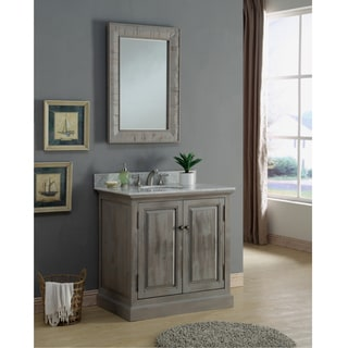 Infurniture Rustic 36-inch Carrara Single Sink Bathroom Vanity with Matching Wall Mirror