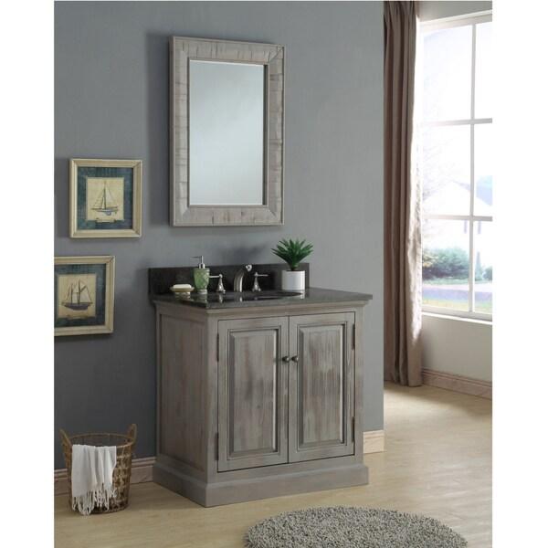 Shop infurniture rustic 36 inch limestone single sink bathroom vanity with matching wall mirror for 36 inch rustic bathroom vanity