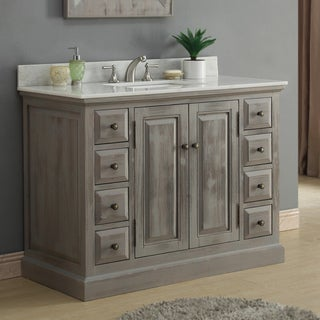 Rustic Style 48-inch Single Sink Bathroom Vanity with Modern Quartz Top