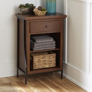 Leighton Bathroom Collection 2-Tier Floor Shelf with Drawer