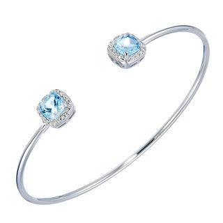 Silver Overlay 1 5/8ct TGW Cushion Blue Topaz and Diamond Accent Cuff Bangle