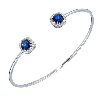 Silver Overlay 1 7/8ct TGW Created Blue Sapphire and Diamond Accent Cuff Bangle