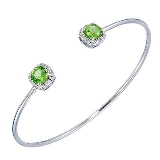 Silver Overlay 1 1/2ct TGW Peridot and Diamond Accent Cuff Bangle