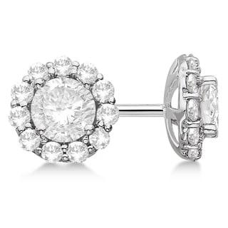 14k Gold 1.50ct . Halo Diamond Stud Earrings (G-H, VS2-SI1)