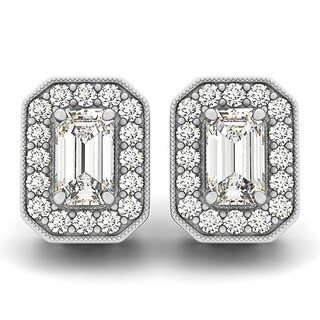 14k Gold 0.90ct Diamond Emerald-cut Halo Stud Earrings