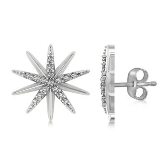 14k Gold 0.16ct Diamond Accented Starburst Stud Earrings
