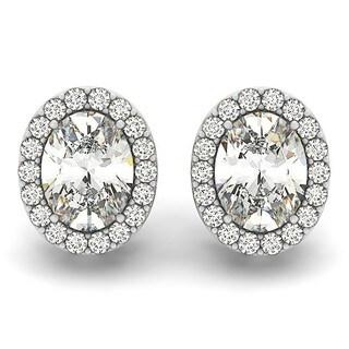14k Gold 1.80ct Oval-shape Diamond Halo Stud Earrings