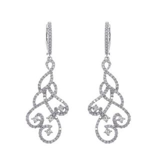 14k Gold 1.30ct Diamond Accented Swirl Drop Fashion Earrings