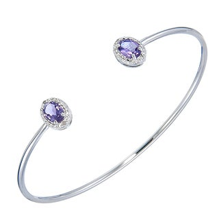 Silver Overlay 1ct TGW Oval-cut Amethyst and Diamond Accent Cuff Bangle