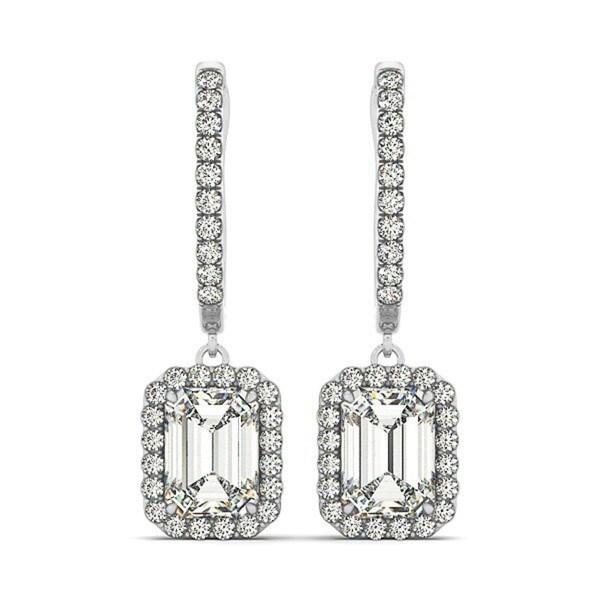14k Gold 2 60ct Emerald Cut Halo Diamond Drop Earrings In