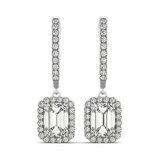 14k Gold 2.60ct Emerald Cut Halo Diamond Drop Earrings in
