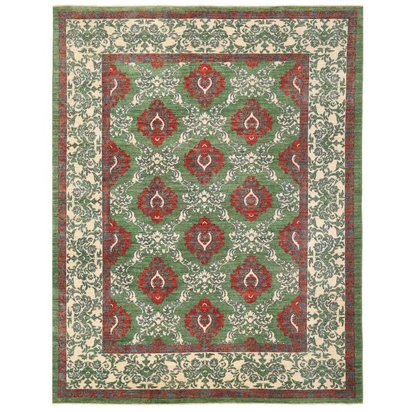 Handmade Herat Oriental Afghan Vegetable Dye William Morris Wool Rug - 9'6 x 12'3 (Afghanistan)