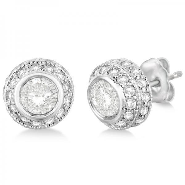 24k Gold 2 00cts Vintage Double Halo Diamond Earrings White