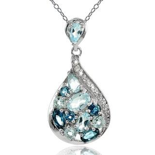 Glitzy Rocks Sterling Silver London Blue Topaz, Blue and White Topaz Tonal Teardrop Necklace