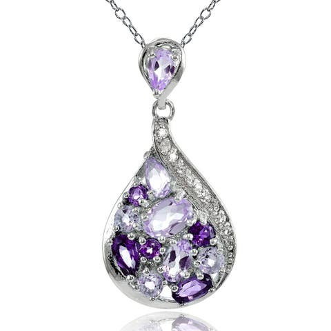 Glitzy Rocks Sterling Silver African Amethyst, Amethyst and White Topaz Tonal Teardrop Necklace