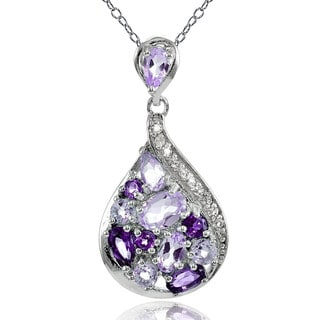 Link to Glitzy Rocks Sterling Silver African Amethyst, Amethyst and White Topaz Tonal Teardrop Necklace Similar Items in Necklaces