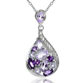 Glitzy Rocks Sterling Silver African Amethyst, Amethyst and White Topaz Tonal Teardrop Necklace|https://ak1.ostkcdn.com/images/products/14162740/P20763138.jpg?impolicy=medium