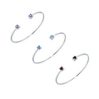 Silver Overlay Princess-cut 2-stone Gemstone Cuff Bangle