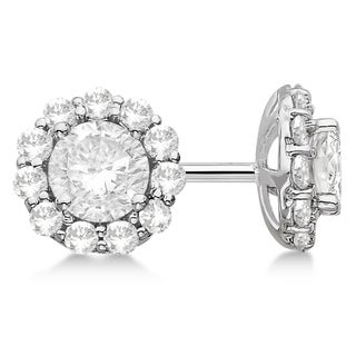 14k Gold 0.75ct . Halo Diamond Stud Earrings (H, SI1-SI2)