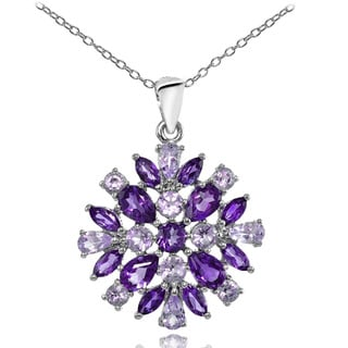 Glitzy Rocks Sterling Silver African Amethyst & Amethyst Cluster Starburst Necklace