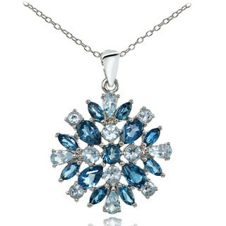 Glitzy Rocks Sterling Silver London Blue Topaz & Blue Topaz Cluster Starburst Necklace