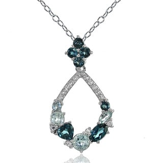 Glitzy Rocks Sterling Silver London Blue Blue And White Topaz Open Teardrop Cluster Flower Necklace