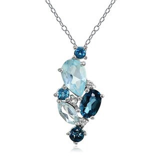 Glitzy Rocks Sterling Silver London Blue, Blue and White Topaz Cluster Tonal Necklace