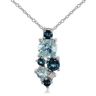 Glitzy Rocks Sterling Silver London Blue, Blue and White Topaz Round Cluster Necklace