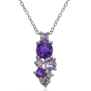 Glitzy Rocks Sterling Silver African Amethyst, Amethyst and White Topaz Round Cluster Necklace