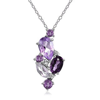 Glitzy Rocks Sterling Silver African Amethyst. Amethyst and White Topaz Cluster Tonal Necklace
