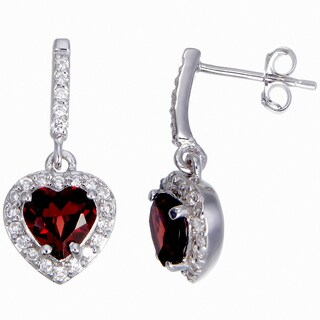Sterling Silver 1ct TGW Garnet Heart Earrings