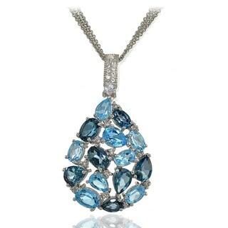 Glitzy Rocks Sterling Silver London Blue, Swiss Blue and White Topaz Tonal Cluster Earrings