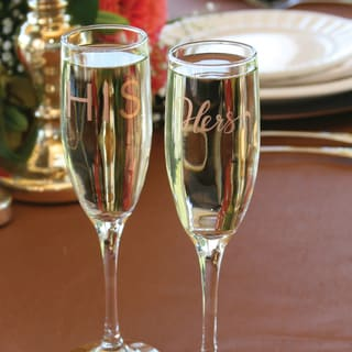 His & Hers Clear Glass Champagne Flutes (Set of 2)