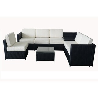 MCombo 8-Piece Outdoor White Cushioned Black Wicker Sectional Sofa Set